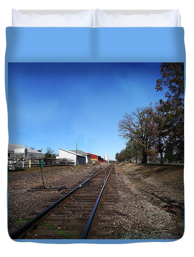 Illinois Duvet Cover featuring the photograph Railroad Tracks Switch Station by Theresa Campbell