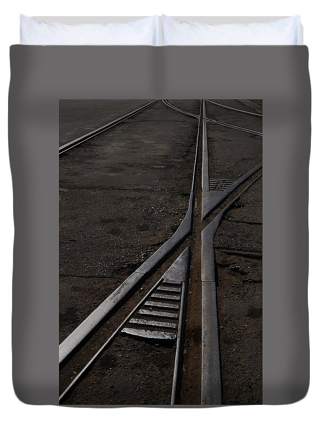 Railway Duvet Cover featuring the photograph Rails Chatham Historic Dockyard by Chris Pickett