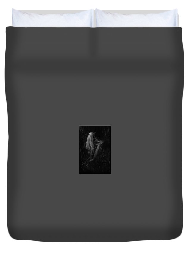 Portrait In The Rain Duvet Cover featuring the photograph Rain And Cold by Bill Munster