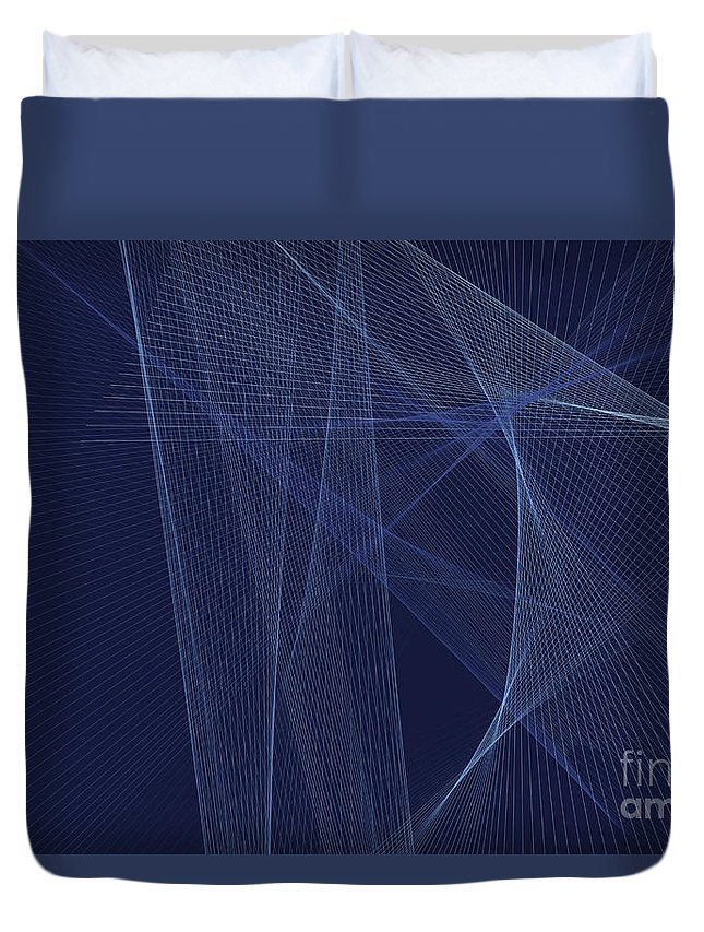 Abstract Duvet Cover featuring the digital art Rain Computer Graphic Line Pattern by Frank Ramspott