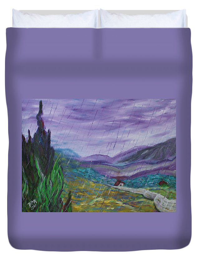 Rain Duvet Cover featuring the painting Rain by David McGhee