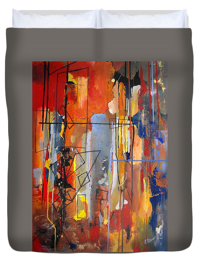 Abstract Duvet Cover featuring the painting Rain Down by Ruth Palmer