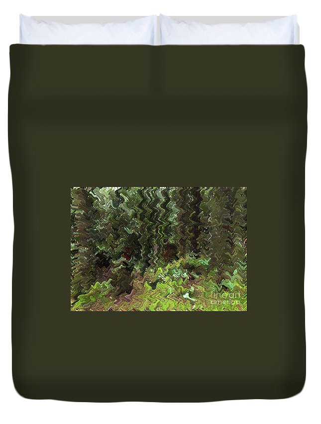 Rain Forest Duvet Cover featuring the digital art Rain Forest Abstract by Sharon Talson