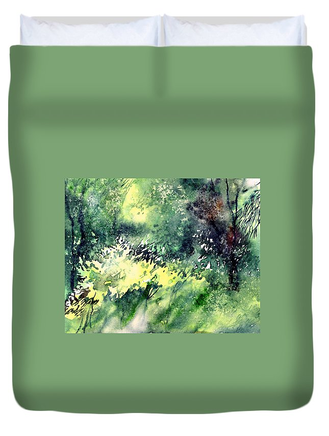 Landscape Watercolor Nature Greenery Rain Duvet Cover featuring the painting Rain Gloss by Anil Nene