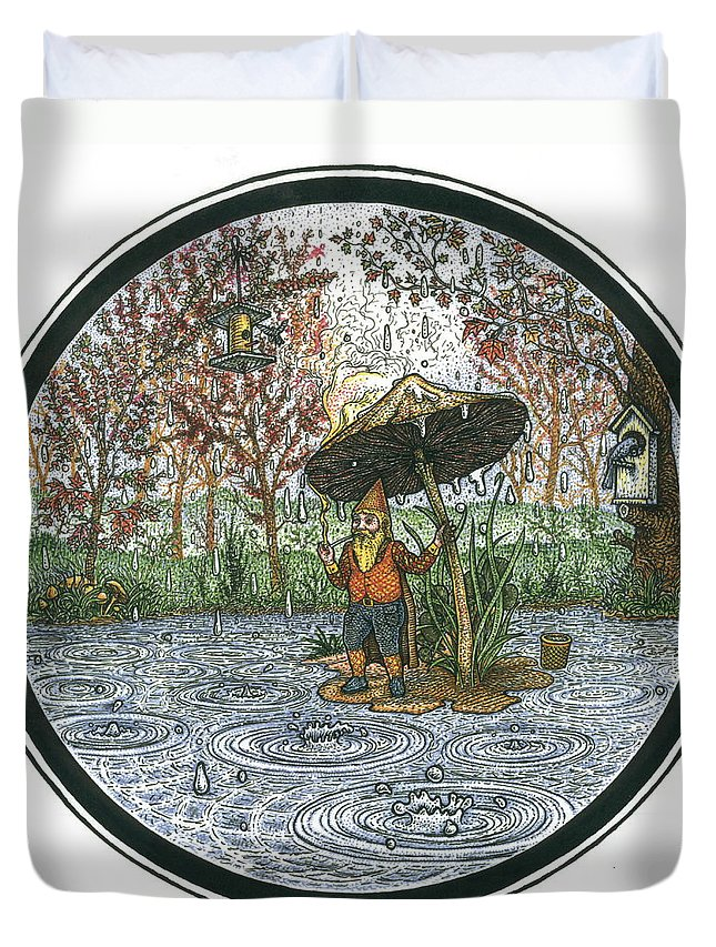 Rain Duvet Cover featuring the drawing Rain Gnome Rain Circle by Bill Perkins