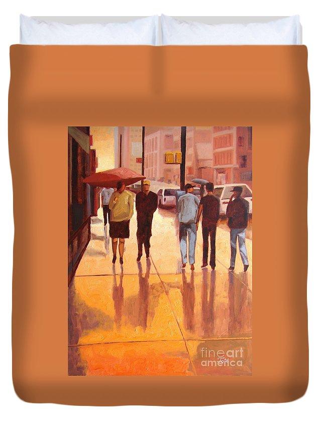 Manhattan Duvet Cover featuring the painting Rain in Manhattan number eighteen by Tate Hamilton