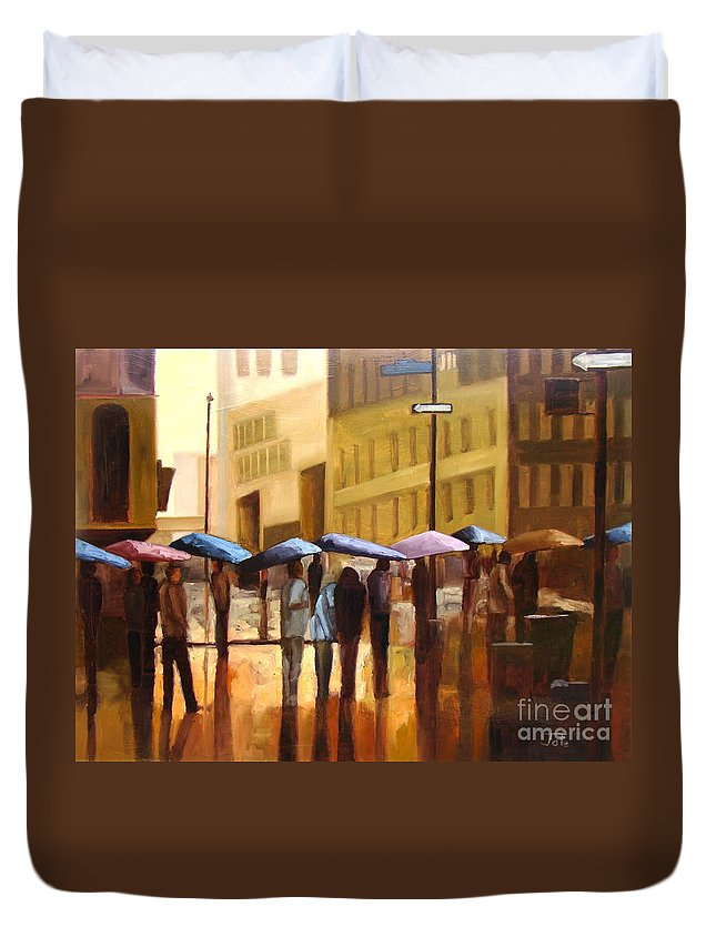Cityscape Duvet Cover featuring the painting Rain In Manhattan Number Seventeen by Tate Hamilton