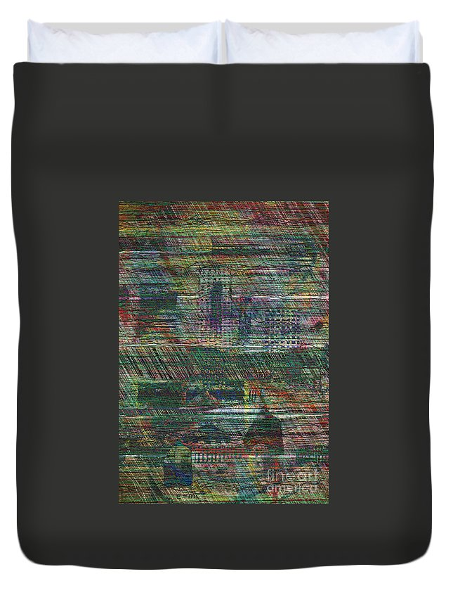 Rain Duvet Cover featuring the digital art Rain In The City by Andy Mercer