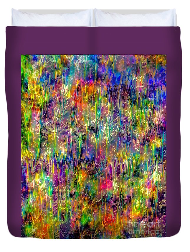 Abstract Painting Duvet Cover featuring the mixed media Rain On The Poppy Field by Catalina Walker