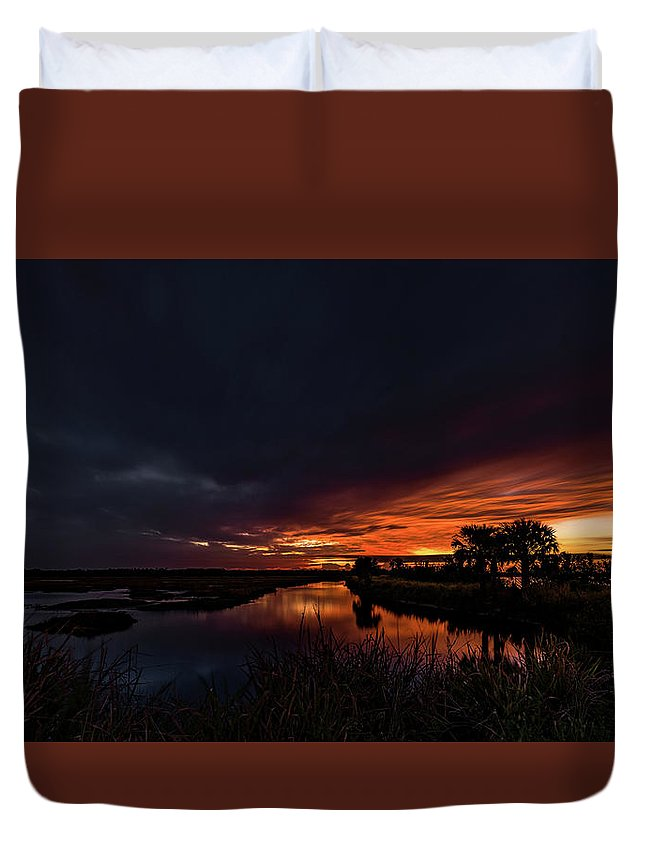 Indian River Duvet Cover featuring the photograph Rain Or Shine - by Norman Peay