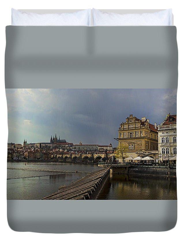 Prague Duvet Cover featuring the photograph Rain Over Prague by Heather Applegate