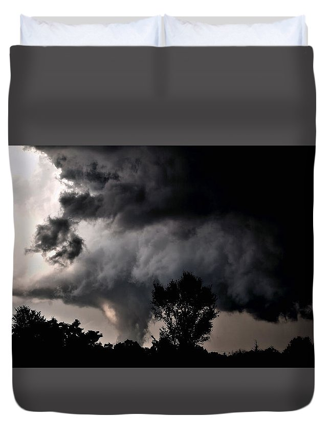 Cloud Duvet Cover featuring the photograph Rain Shaft 01 by Larry Jost