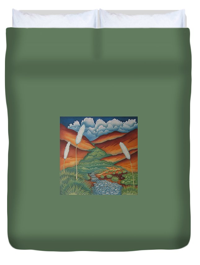 Landscape Duvet Cover featuring the painting Rain Trail by Jeniffer Stapher-Thomas