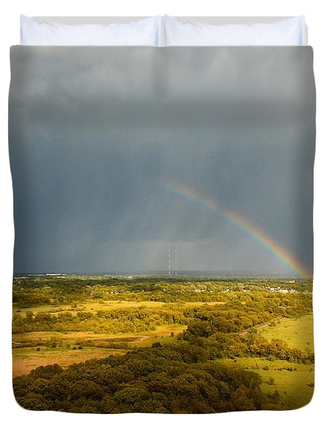 Havenwood Duvet Cover featuring the photograph Rainbow by Steve Bell