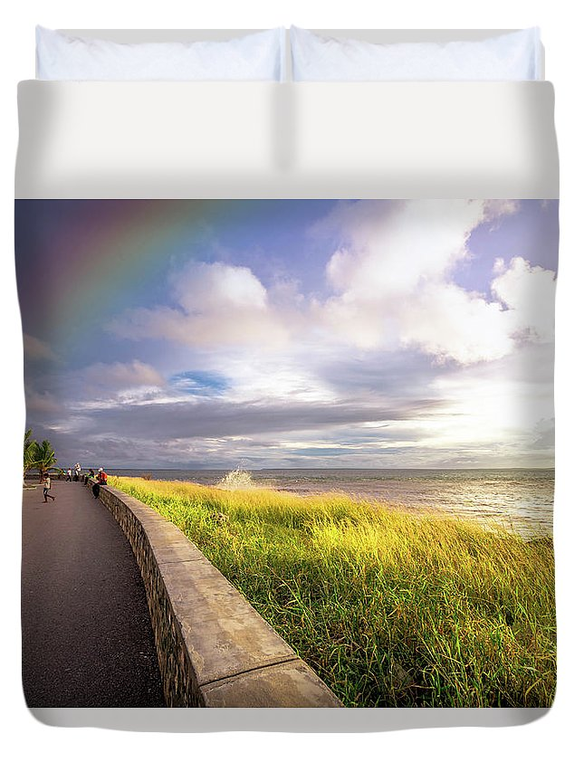 Sea Duvet Cover featuring the photograph Rainbow At Seaside by Louloua Asgaraly