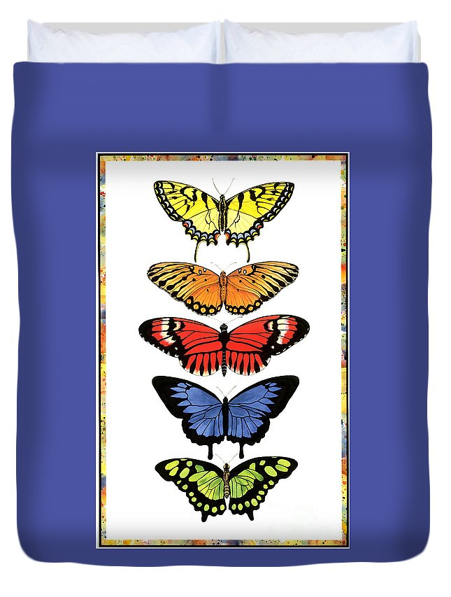 Butterflies Duvet Cover featuring the painting Rainbow Butterflies by Lucy Arnold
