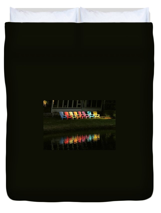 Lounge Duvet Cover featuring the photograph Rainbow Chairs by Peg Urban