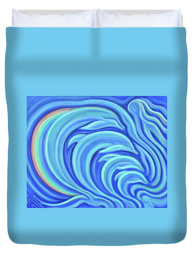 Dolphins Duvet Cover featuring the painting Rainbow Dolphins by Maya Soaringsun