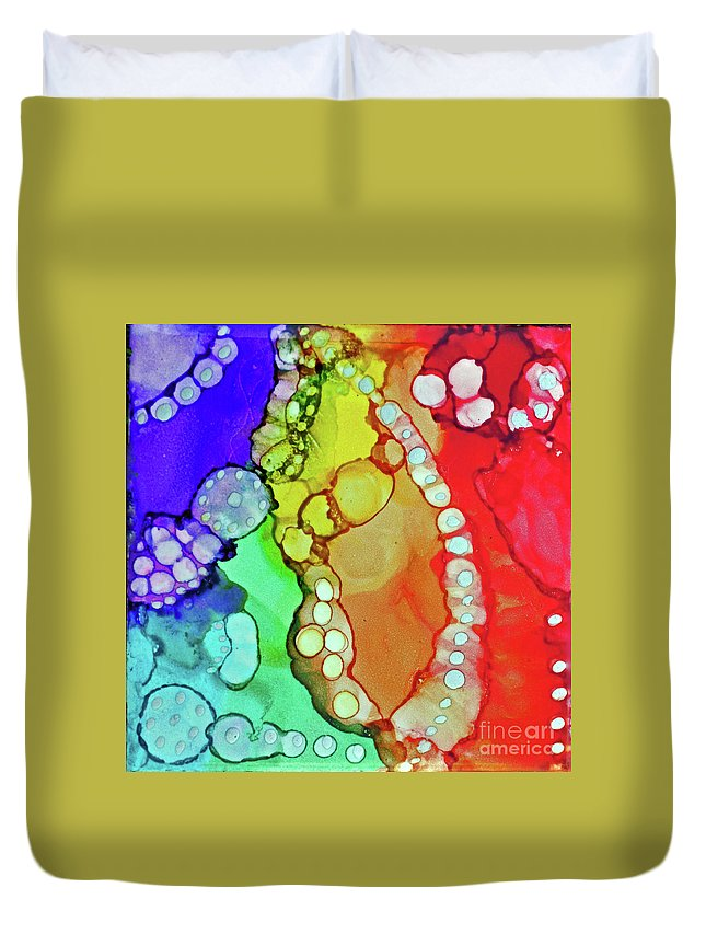 Alcohol Ink Duvet Cover featuring the painting Rainbow Drops by Davids Digits