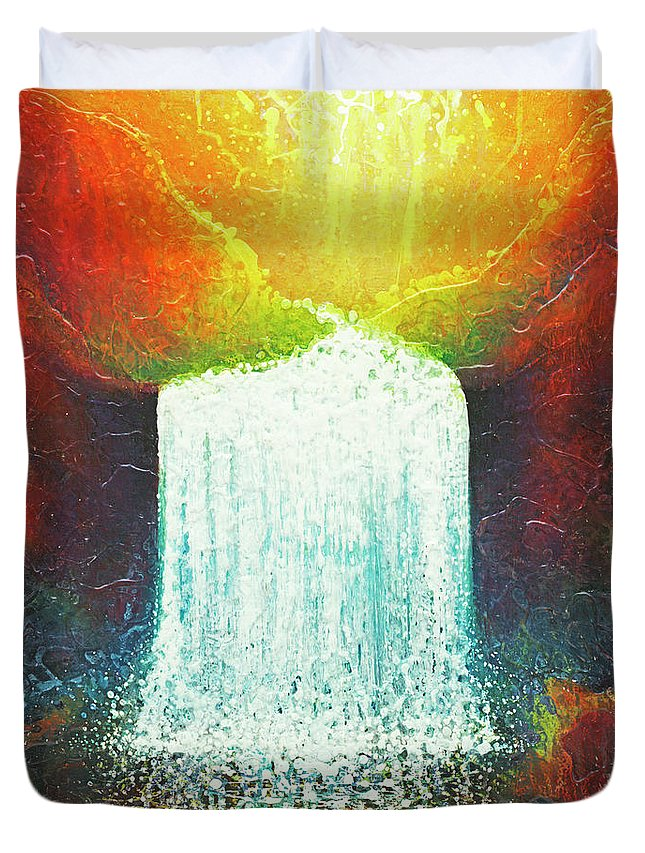 Abstract Painting Duvet Cover featuring the painting Rainbow Falls by Jaison Cianelli