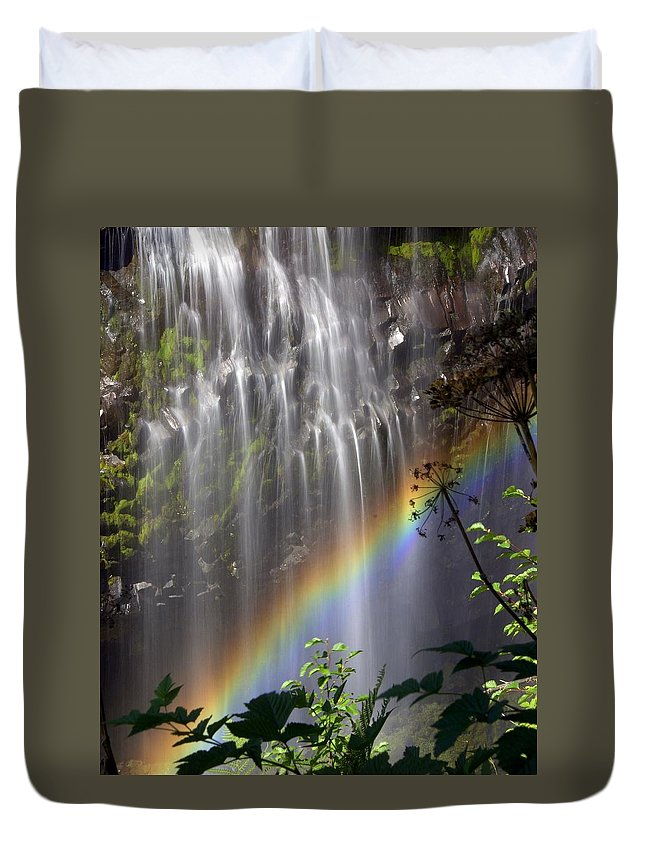 Waterfall Duvet Cover featuring the photograph Rainbow Falls by Marty Koch