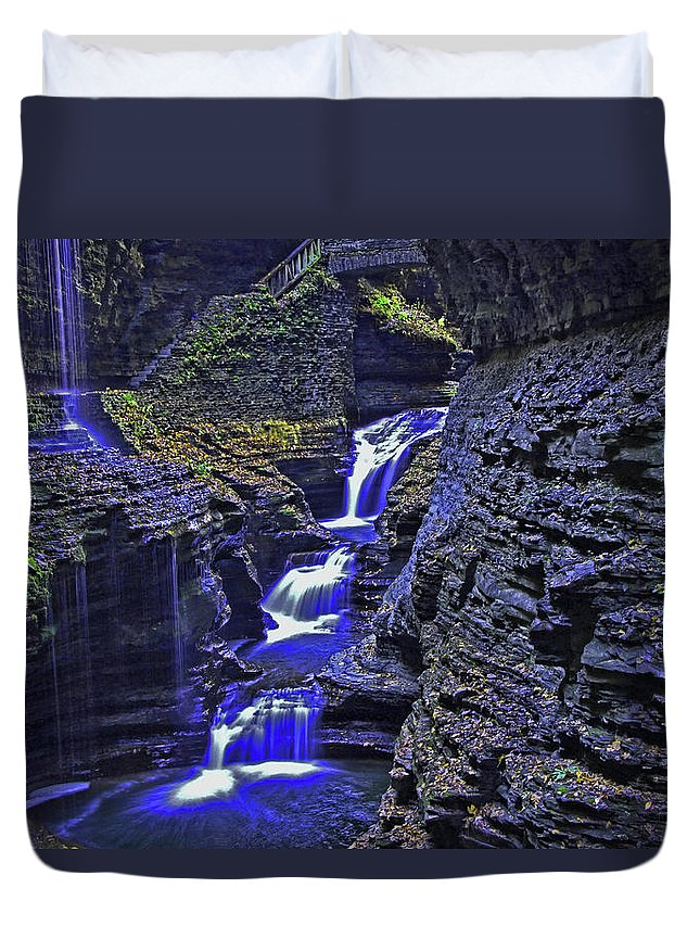 Stream Duvet Cover featuring the photograph Rainbow Falls Watkins Glen State Park by Allen Beatty