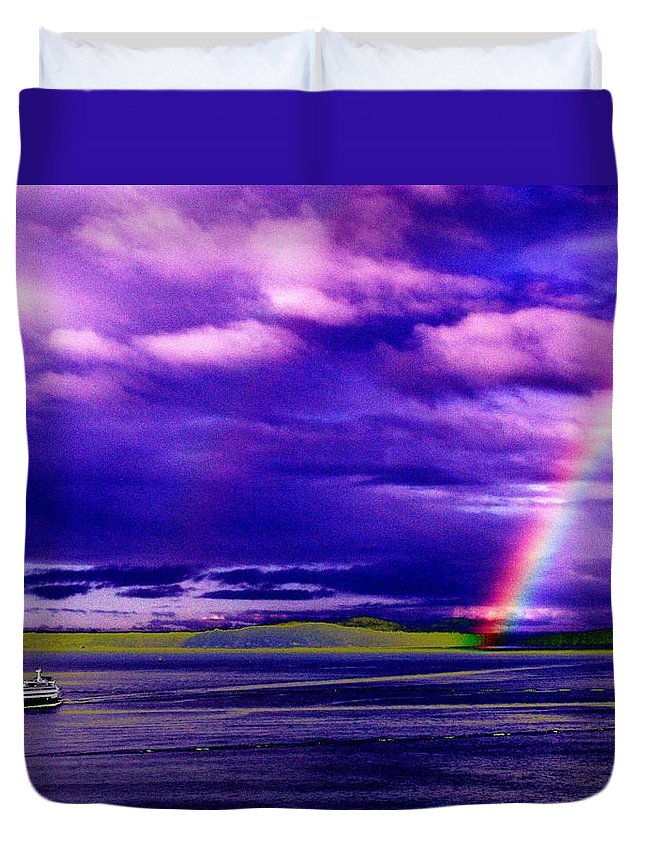 Seattle Duvet Cover featuring the photograph Rainbow Ferry by Tim Allen