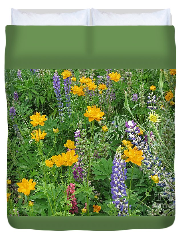 Flowers Duvet Cover featuring the photograph Rainbow Field by Chuck Hanlon