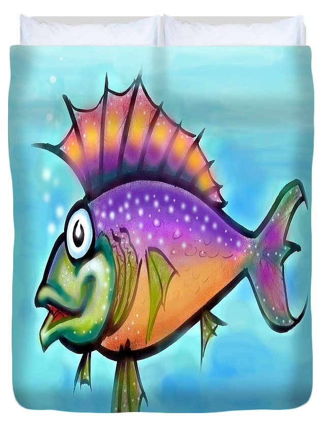 Fish Duvet Cover featuring the greeting card Rainbow Fish by Kevin Middleton