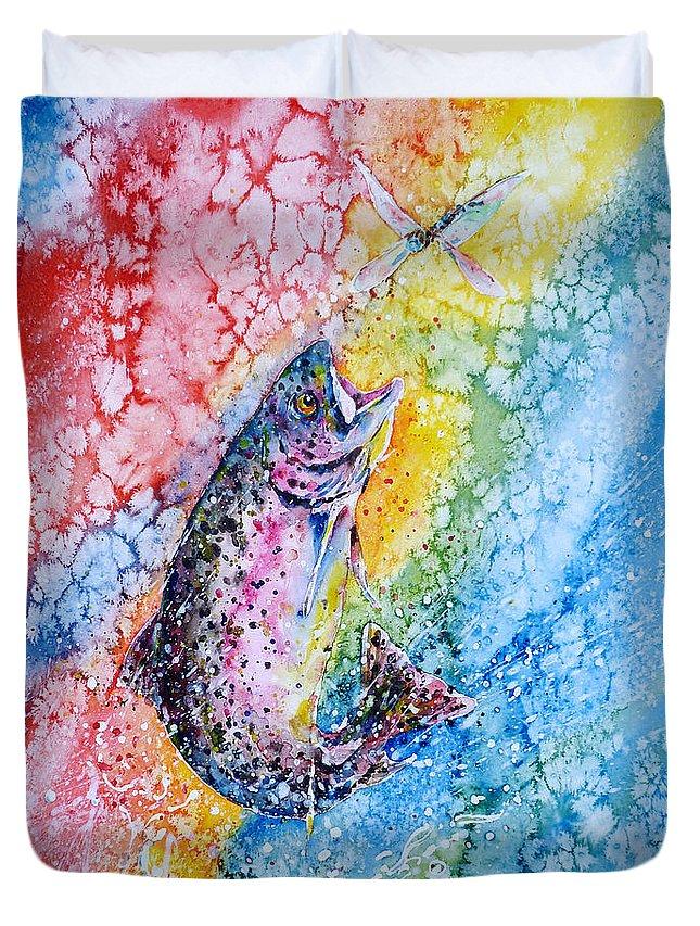 Trout Duvet Cover featuring the painting Rainbow Hunter by Zaira Dzhaubaeva