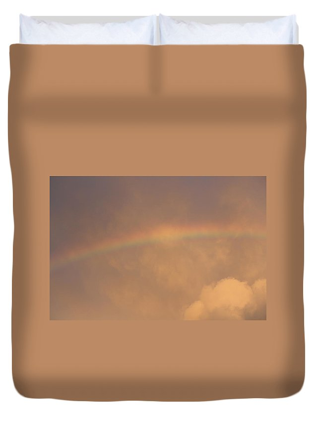 Rainbow Duvet Cover featuring the photograph Rainbow In Clouds by Donna Walsh