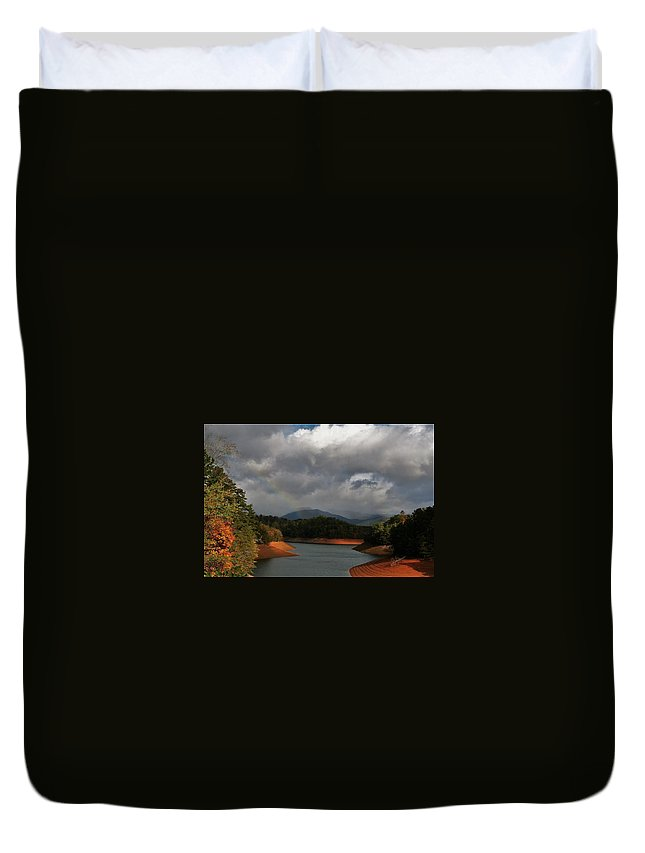 Rainbow Duvet Cover featuring the photograph Rainbow In North Carolina by Vice Photo