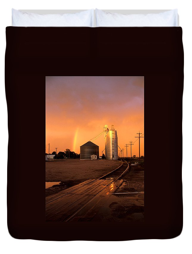 Potter Duvet Cover featuring the photograph Rainbow In Potter by Jerry McElroy