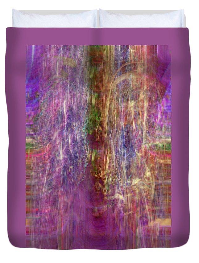 Digital Art Duvet Cover featuring the digital art Rainbow In The Dark by Linda Sannuti