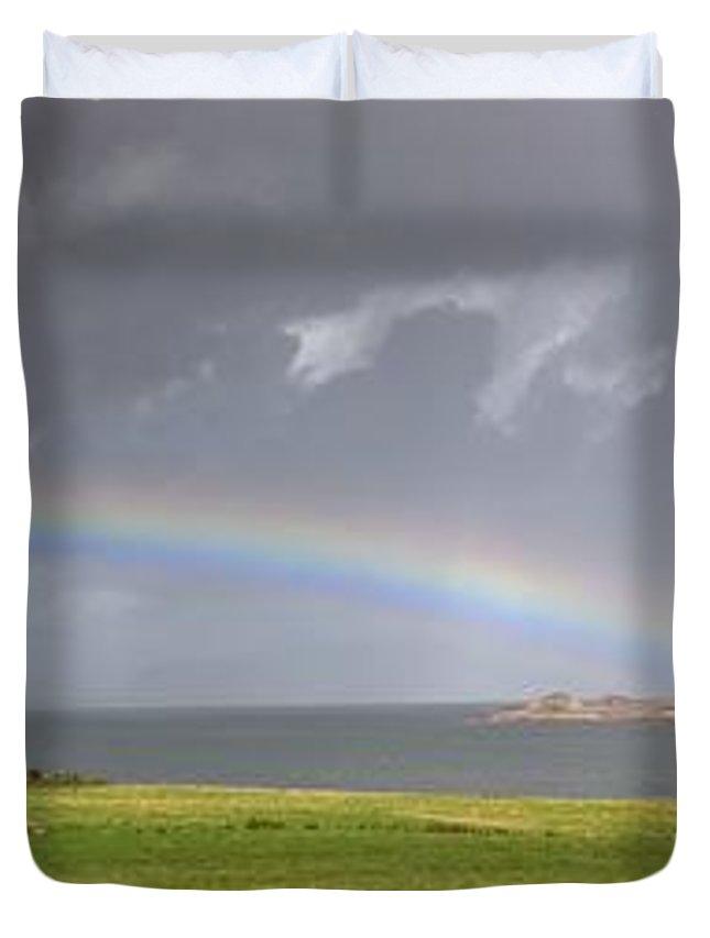 John Duvet Cover featuring the photograph Rainbow, Island Of Iona, Scotland by John Short