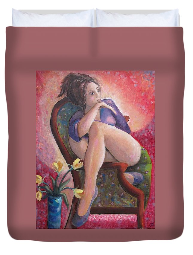 Sitting Woman Duvet Cover featuring the painting Rainbow by Josie Bahar