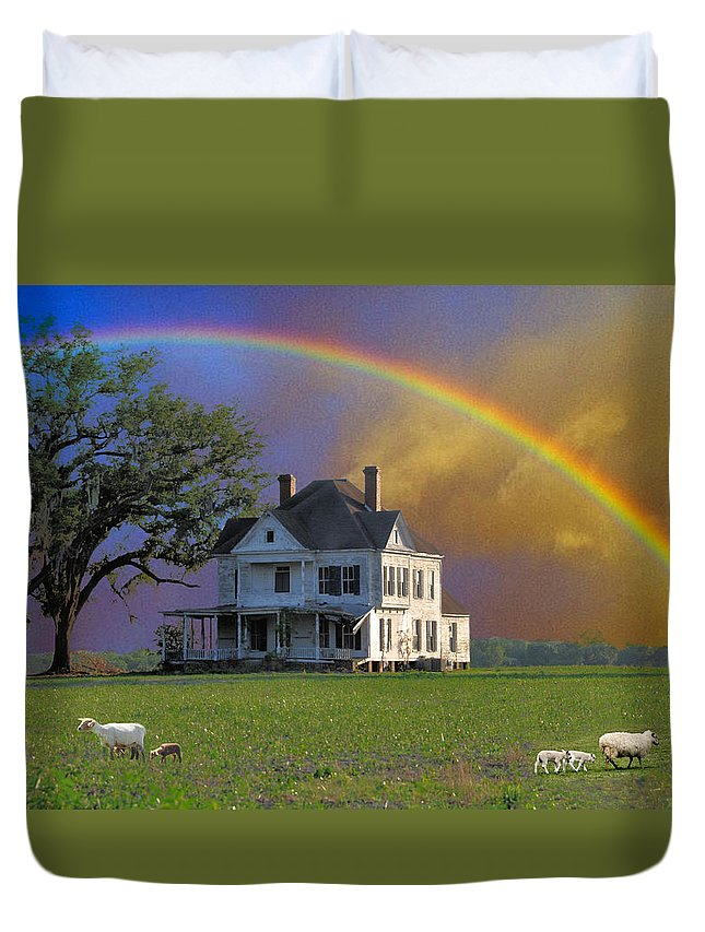 Landscapes Duvet Cover featuring the photograph Rainbow Meadow by Jan Amiss Photography