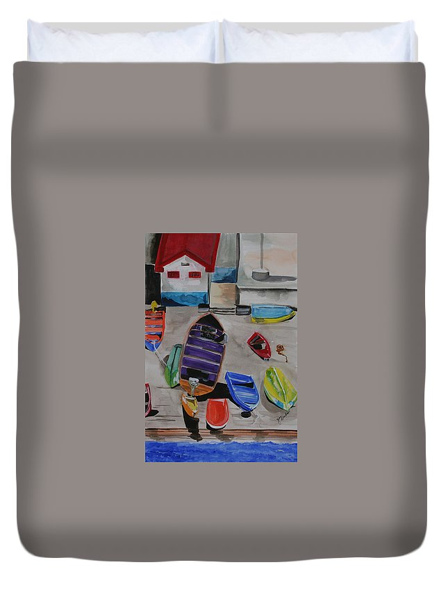 Boats Duvet Cover featuring the painting Rainbow On The Dock by Jean Blackmer