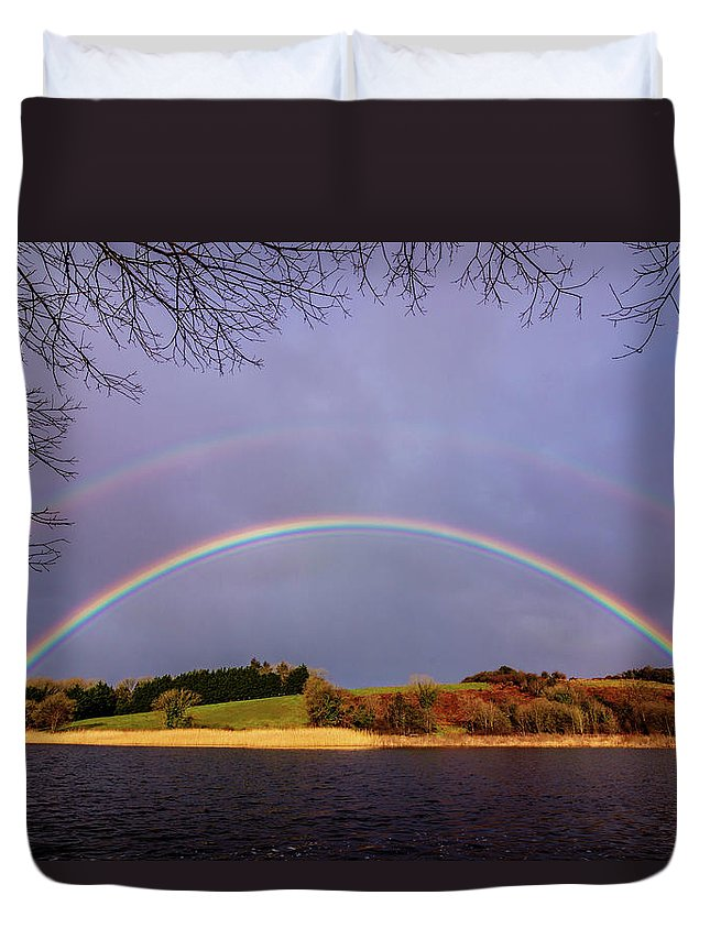 Rainbow Duvet Cover featuring the photograph Rainbow On The Double by Michael Kinsella