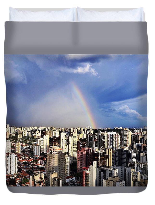 Rainbow; Arco Baleno; Arco-iris; Sao Paulo; Sampa; Sp; Brasil; Brazil; Arquitetura; Architecture; Skyline; Brooklin; Buildings; Predios; Predio; Edificio; Moderno Progresso; Campo Belo Duvet Cover featuring the photograph Rainbow Over City Skyline - Sao Paulo by Carlos Alkmin