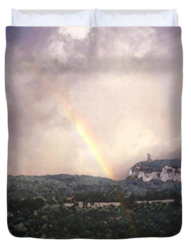 Landscape Duvet Cover featuring the painting Rainbow Over Gunks by Paul Sachtleben