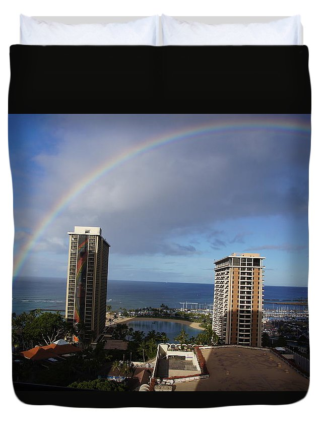 Rainbow Duvet Cover featuring the photograph Rainbow Over Hilton by Ron Koivisto