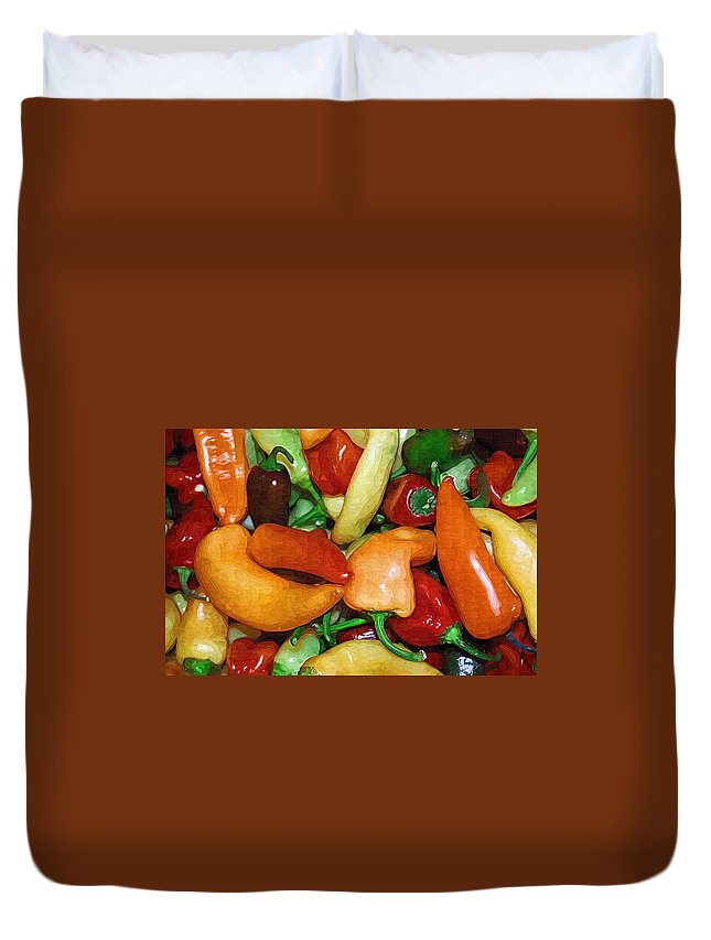 Peppers Duvet Cover featuring the photograph Rainbow Peppers by Donna Bentley