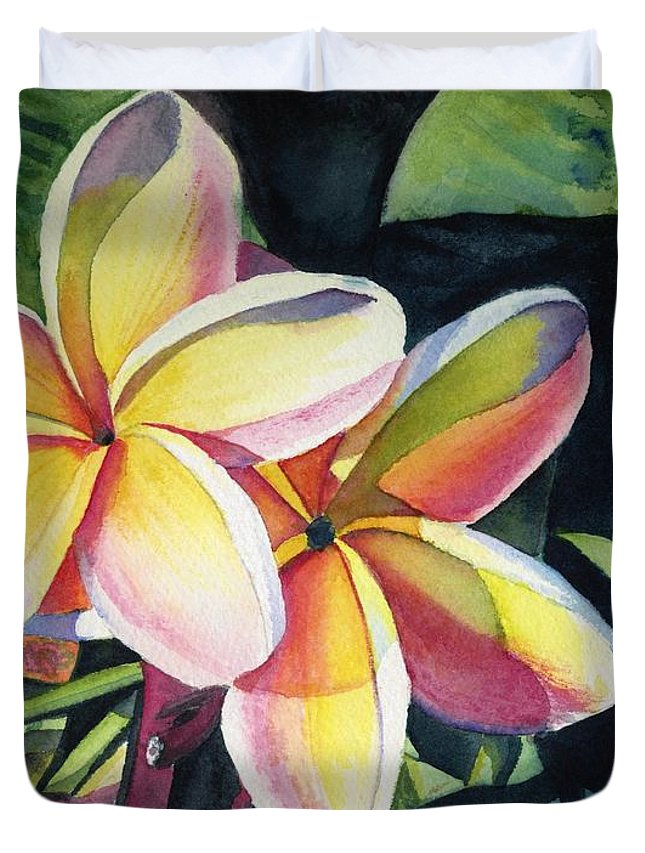 Rainbow Duvet Cover featuring the painting Rainbow Plumeria by Marionette Taboniar