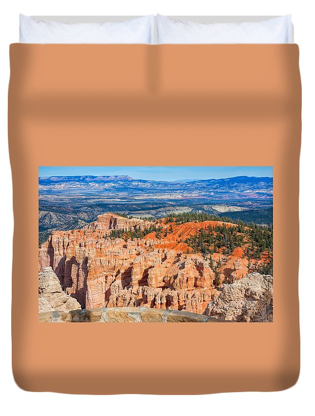 Landscape Duvet Cover featuring the photograph Rainbow Point Panorama by John M Bailey