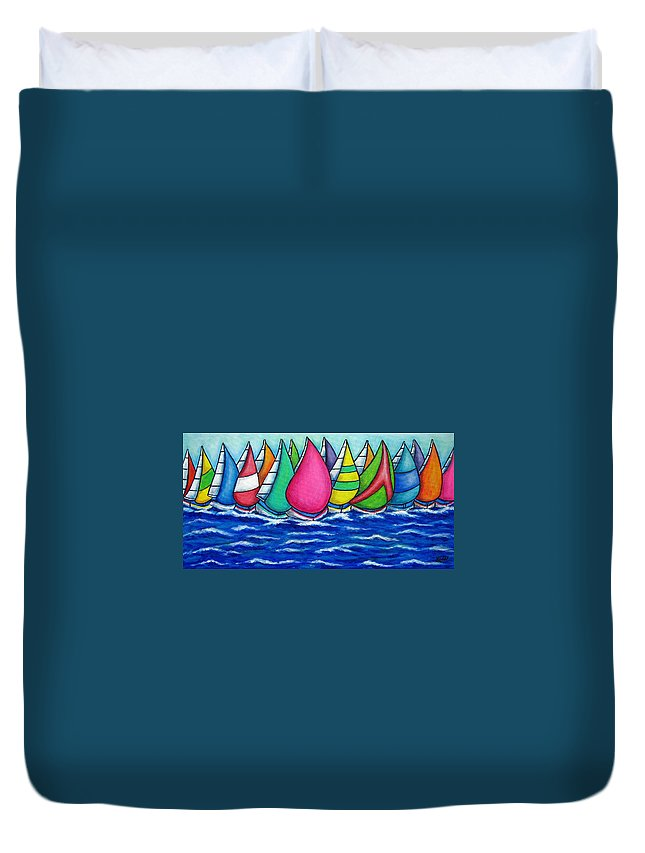 Boats Duvet Cover featuring the painting Rainbow Regatta by Lisa Lorenz