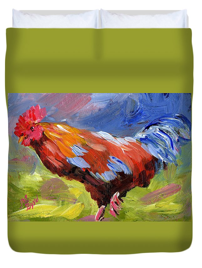 Window Duvet Cover featuring the painting Rainbow Rooster by Joe Byrd