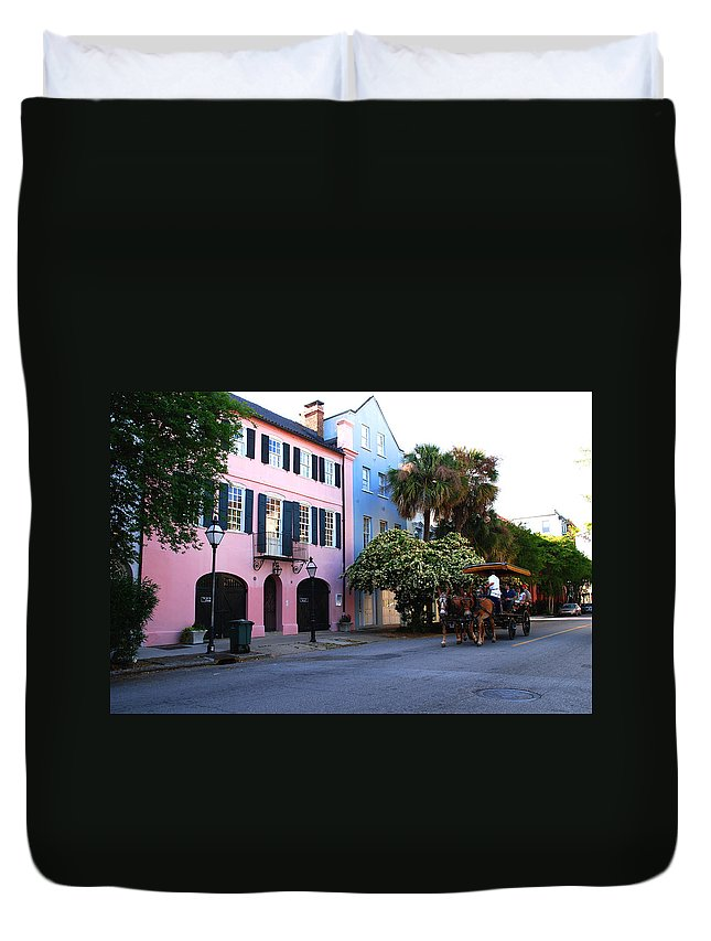 Charleston Duvet Cover featuring the photograph Rainbow Row Charleston by Susanne Van Hulst