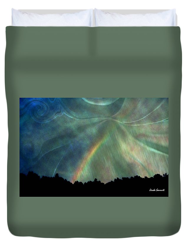 Nature Duvet Cover featuring the photograph Rainbow Showers by Linda Sannuti