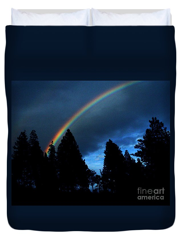 Rainbow Duvet Cover featuring the photograph Rainbow Sky by Peter Piatt